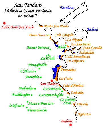 Cartina Di San Teodoro Sardegna.Santeodoro E Le Sue Frazioni Sardegna